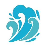 water waves ocean flat style icon vector