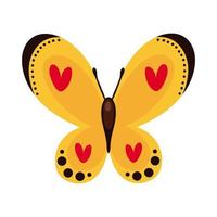 beautiful butterfly yellow insect flat style icon vector