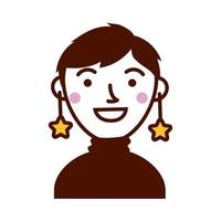 woman female with stars earrings character vector