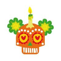 mexican skull mask with candle culture hand draw style icon vector