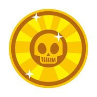 coin token with skull hand draw style vector