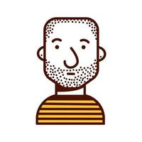 young man shaved head avatar character icon vector