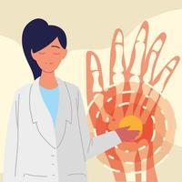 doctor and hand bones vector