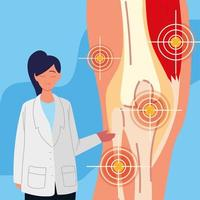 woman doctor and knee pain vector