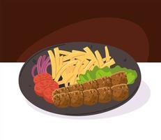 kebab with fries plate vector