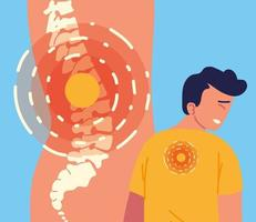 boy and spine pain vector