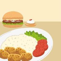 hamburger and plate vector