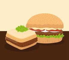 arabic hamburger and baklava vector