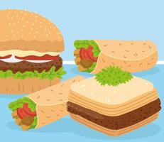 baklava hamburger and shawarma vector