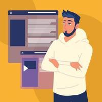 man with websites vector