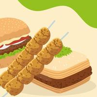 kebab sticks hamburger and baklava vector