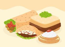 arabic food icon collection vector