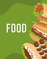 arabic food icon group vector