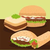 arabic food icon set vector