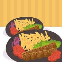 kebab with fries plates vector