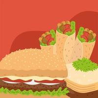 shawarma hamburger and baklava vector