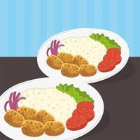 arabic food plates vector