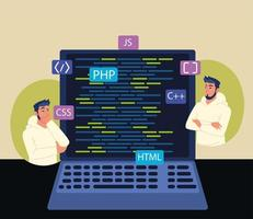 men and laptop with codes vector