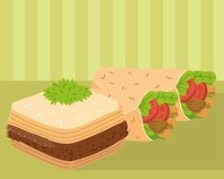baklava and shawarma vector