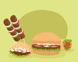 arabic food symbol set vector