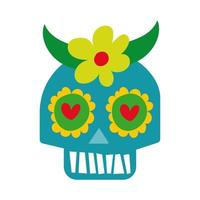 mexican skull mask with flower culture hand draw style icon vector