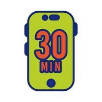 teléfono inteligente con línea de 30 minutos e ícono de estilo de relleno vector