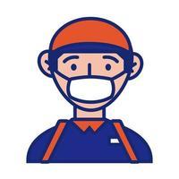 Cartero trabajador con línea de protección de mascarilla y estilo de relleno vector