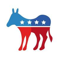 donkey with usa flag flat detailed style vector