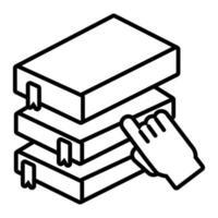 Pila de libros electrónicos con estilo de línea en línea de educación de mano vector