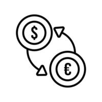 dollar and euro coin with arrow line style vector