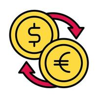 dollar and euro coins line and fill style vector