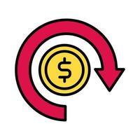 coin money dollar with arrow around line and fill style vector