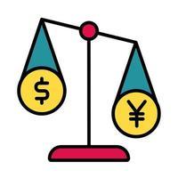 Equilibrio con línea de moneda de dólar y yen y estilo de relleno. vector