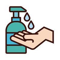 Mano con línea de botella de jabón antibacteriano e icono de relleno vector