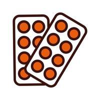 Las píldoras sellan la línea de medicamentos y el estilo de relleno. vector