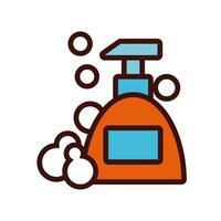 Línea de botella de jabón antibacteriano e icono de relleno. vector
