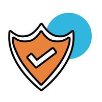 shield security with check symbol line and fill style icon vector
