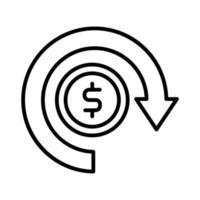 coin money dollar with arrow around line style vector