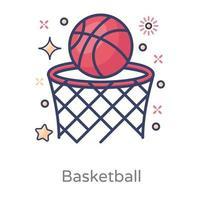 baloncesto sobre aro vector