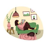 Young Woman is reading eBook in living room Flat illustration Girl at home with book Female sits with tablet on the sofa Cozy interior in flat style vector