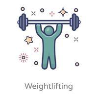 diseño de levantamiento de pesas. barra de sujeción humana vector