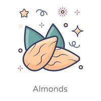 diseño de frutos secos de almendras vector