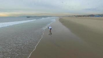 luchtfoto van een jonge man die op het strand loopt. video