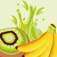tropical fruits, banana and kiwi vector