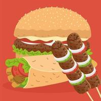 hamburger, kebab and shawarma vector