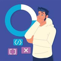 man with pie chart and codes vector
