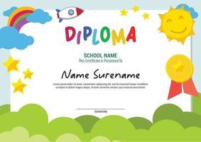 school diploma template certificate kids multi purpose vector