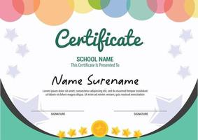 Multipurpose Professional Certificate Template Design kids colorfull vector