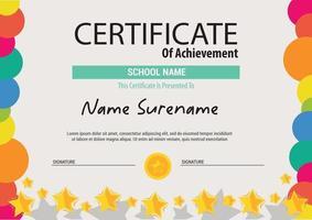Multipurpose Professional Certificate Template Design kids colorfull stars vector