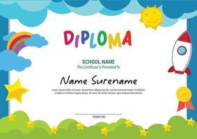 school diploma template certificate kids multi purpose rainbow vector
